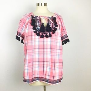 Crown & Ivy pink plaid top with navy fringe trim